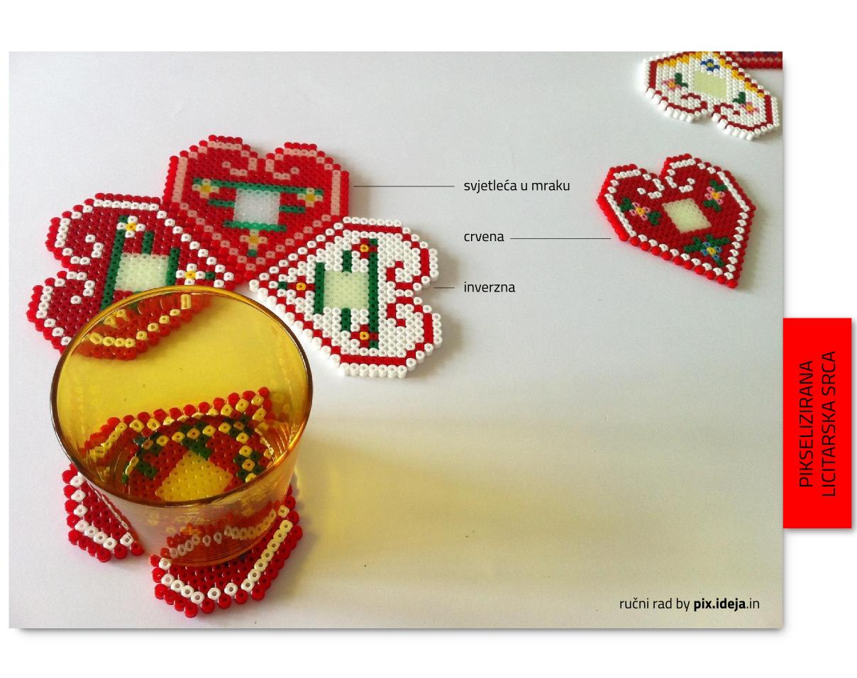 pikselizirana licitarska srca - podmetači za čaše