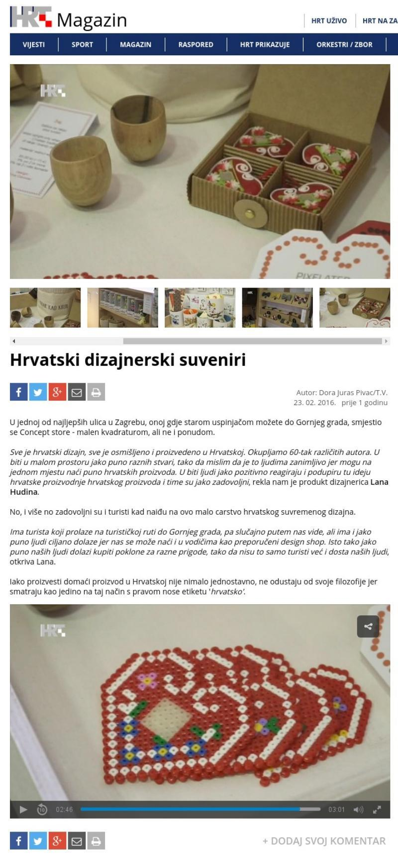 HRT magazin - hrvatski dizajnerski suveniri